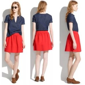 Madewell Pointe Swivel Red scuba mini skirt size 8